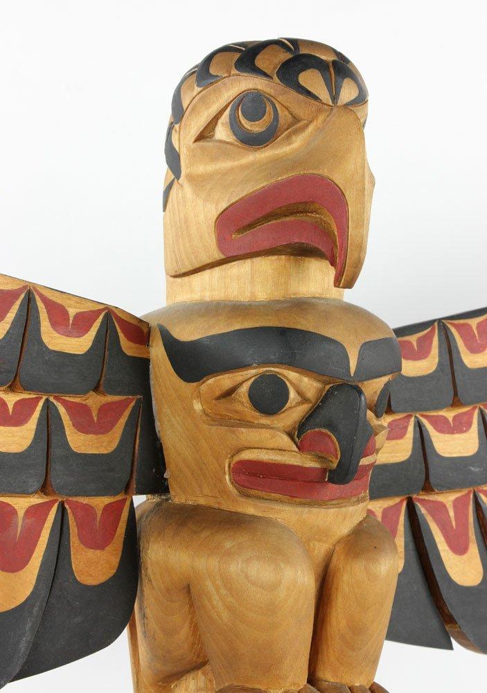 Salish Carved Polychrome Totem Pole - 6