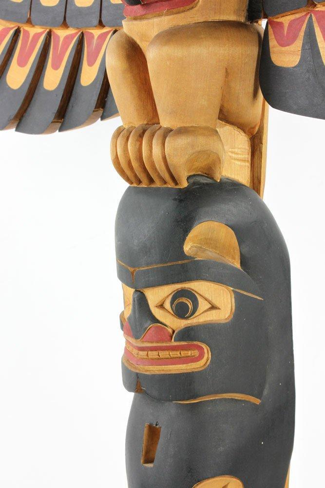 Salish Carved Polychrome Totem Pole - 8