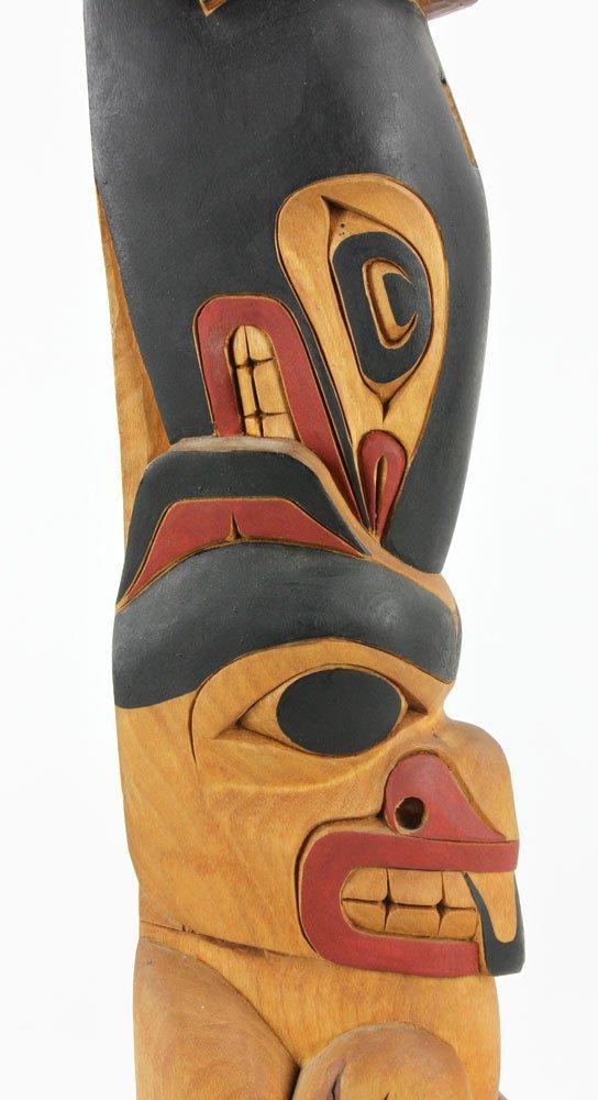 Salish Carved Polychrome Totem Pole - 9
