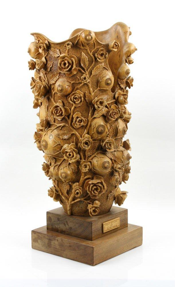 """Fruit of Love"" Elaborately Carved Decorative Vase - 2"