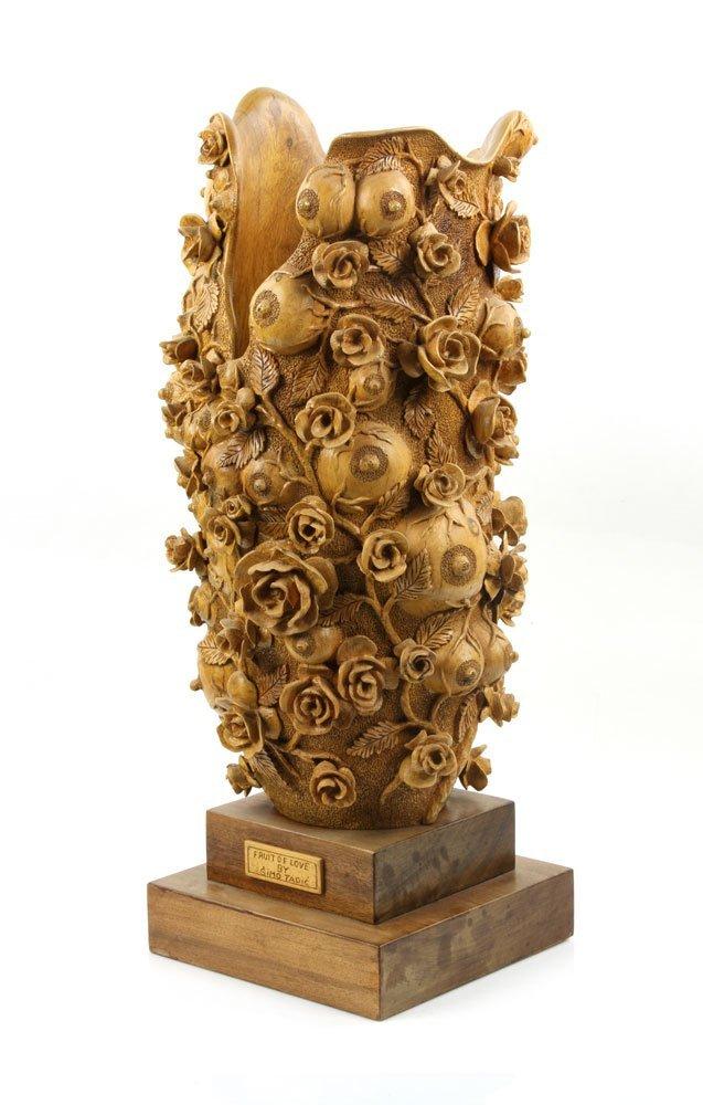 """Fruit of Love"" Elaborately Carved Decorative Vase - 3"