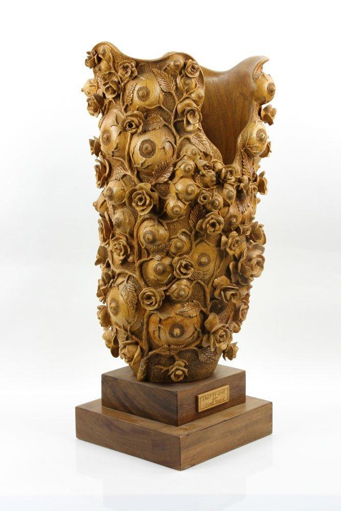 """Fruit of Love"" Elaborately Carved Decorative Vase - 4"