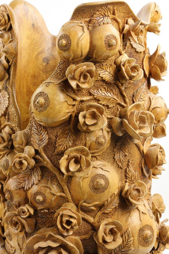 """Fruit of Love"" Elaborately Carved Decorative Vase - 8"