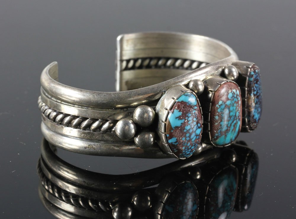 Navajo Sterling and Turquoise Cuff - 2