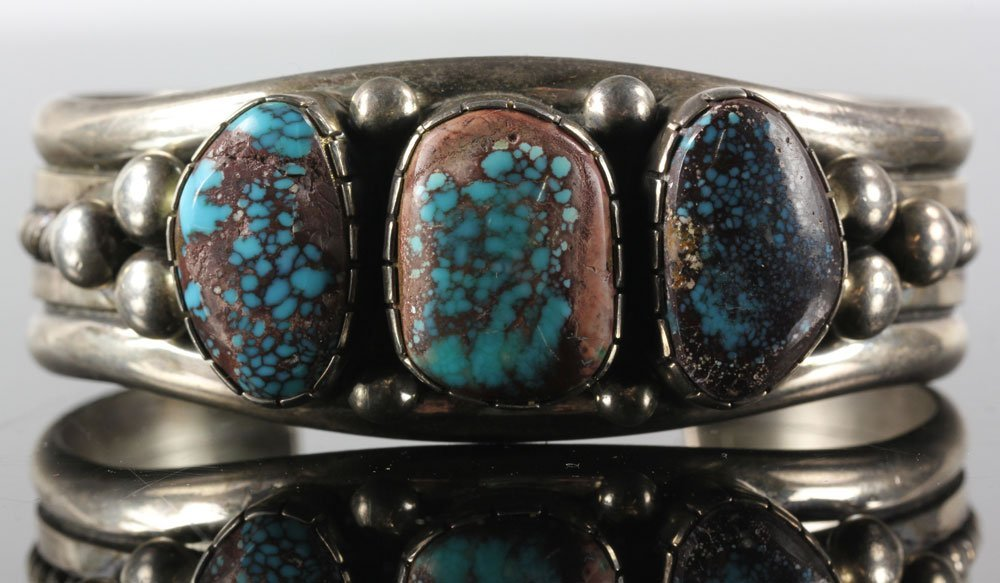 Navajo Sterling and Turquoise Cuff - 4