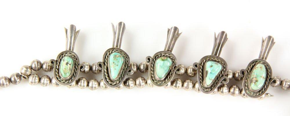 Vintage Navajo Squash Blossom Necklace - 4