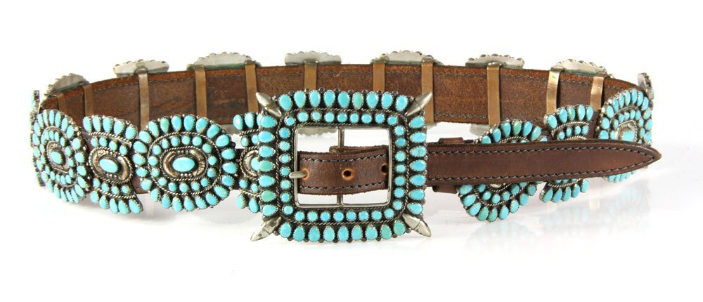Navajo Sterling and Turquoise Belt