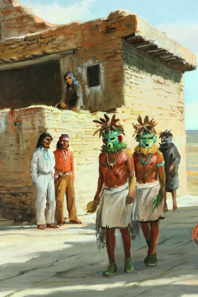 Pond, Native American Village, Oil on Canvas - 6