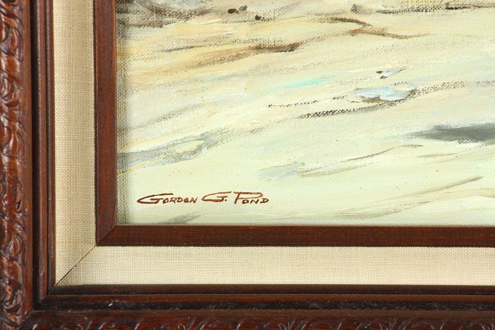 Pond, Native American Village, Oil on Canvas - 9