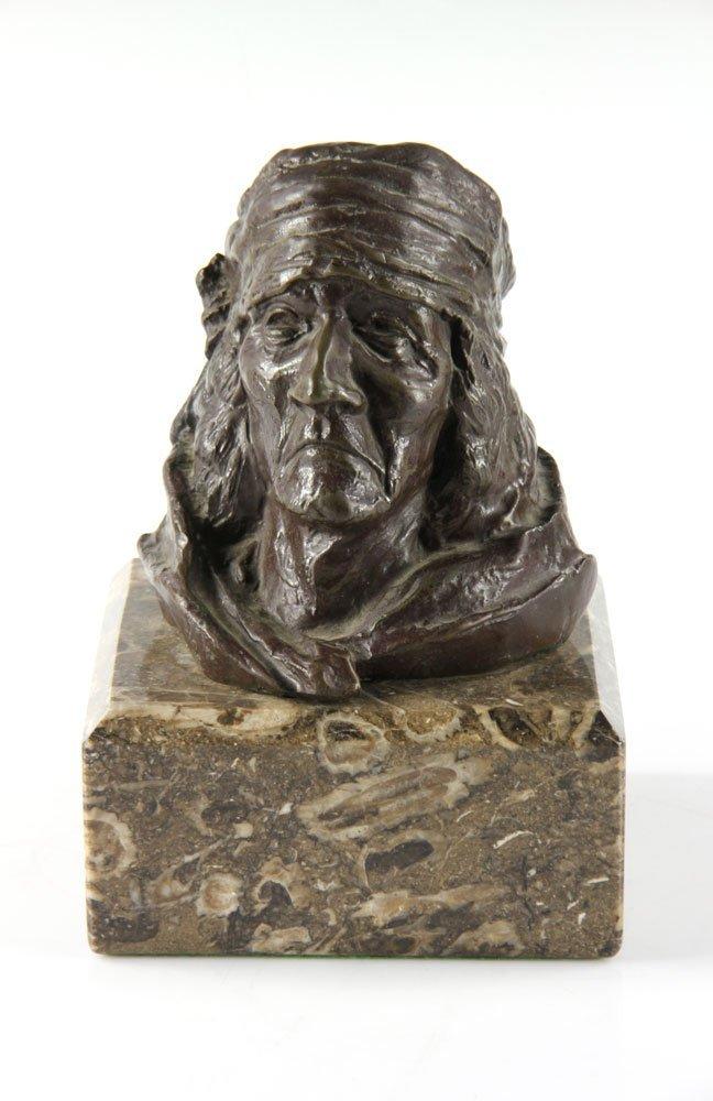 Bronze Portrait of Native American Man