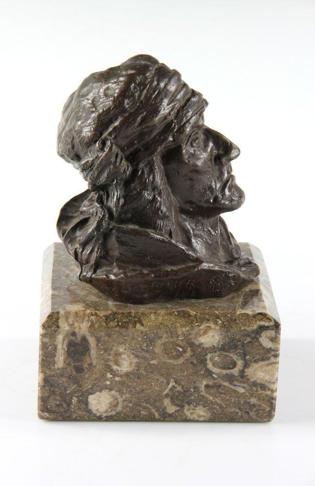 Bronze Portrait of Native American Man - 4