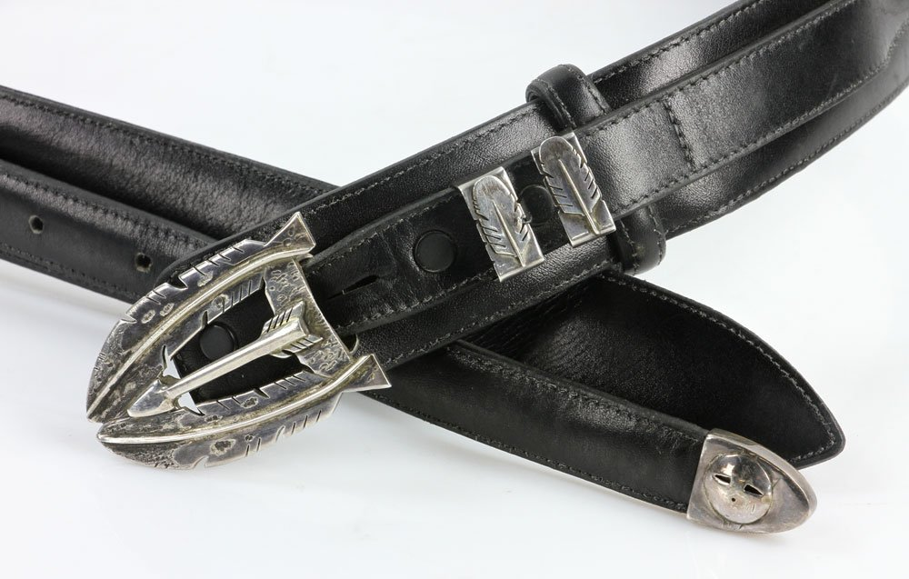Sterling and Leather Men's Belt - 7