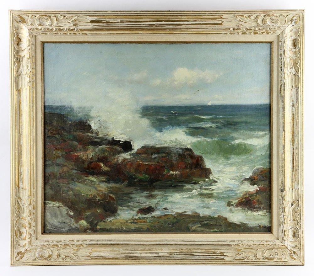 "C. Gruppe, ""Bass Rocks,"" Oil on Canvas"
