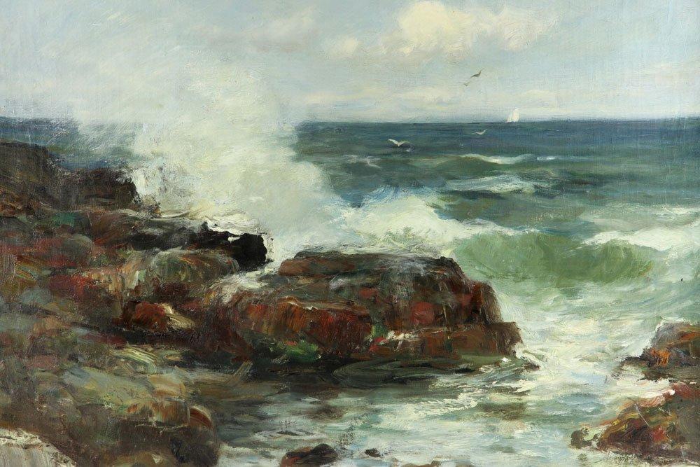 "C. Gruppe, ""Bass Rocks,"" Oil on Canvas - 3"