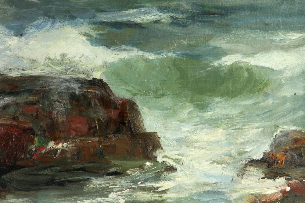 "C. Gruppe, ""Bass Rocks,"" Oil on Canvas - 6"