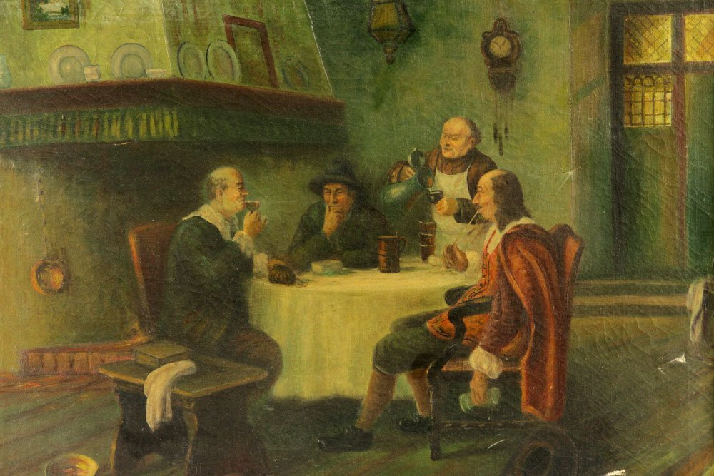 German Tavern Scene, Oil on Canvas - 3