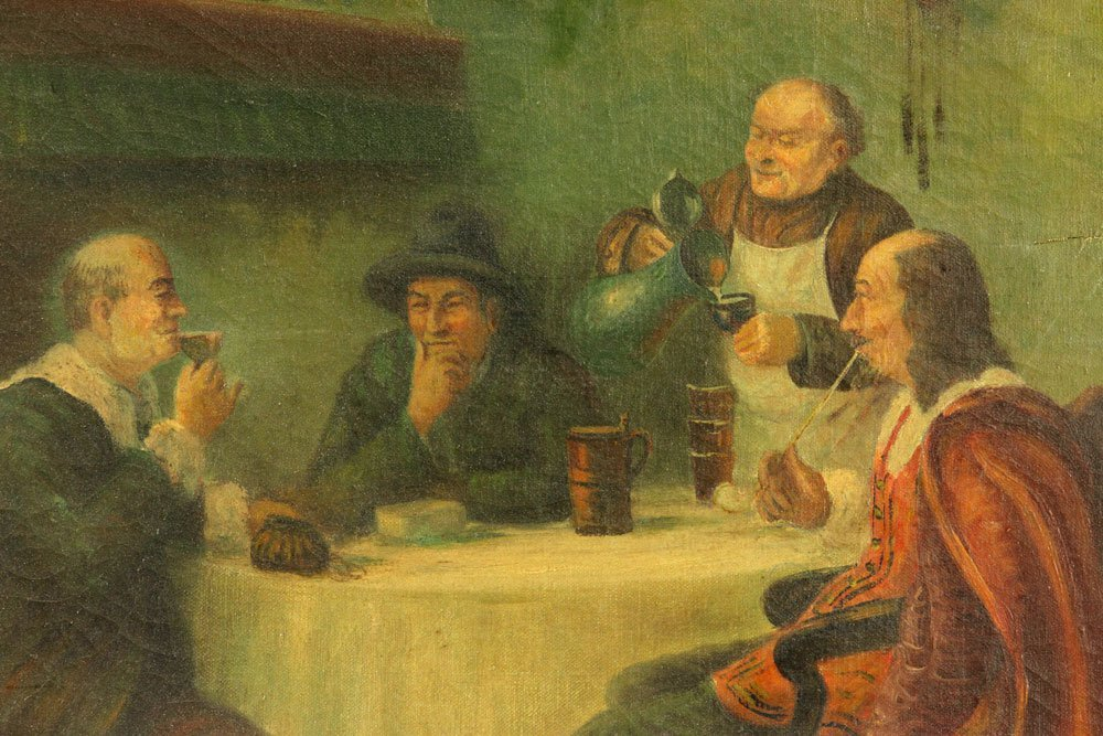 German Tavern Scene, Oil on Canvas - 4