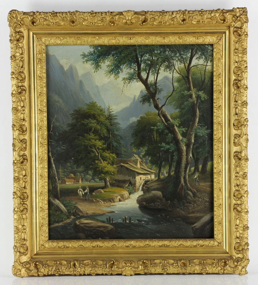 Postello, Mill and Landscape, Oil on Canvas