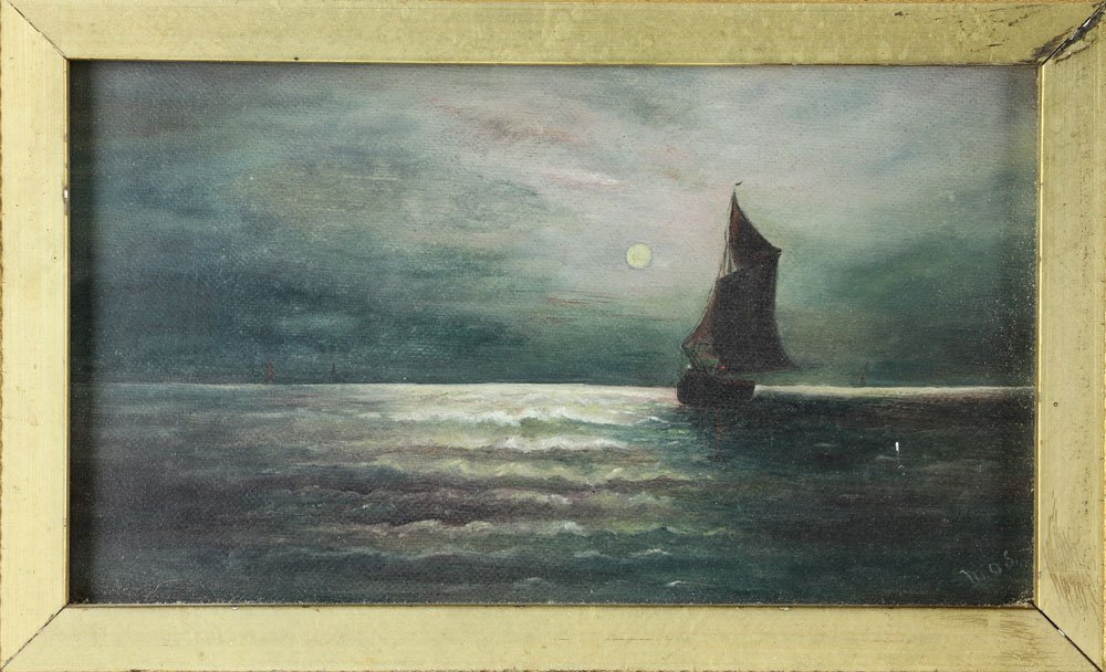 Moonlit Sailboat, Oil on Canvas - 3