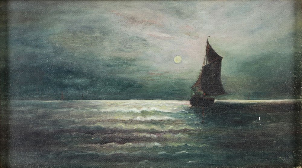 Moonlit Sailboat, Oil on Canvas - 4