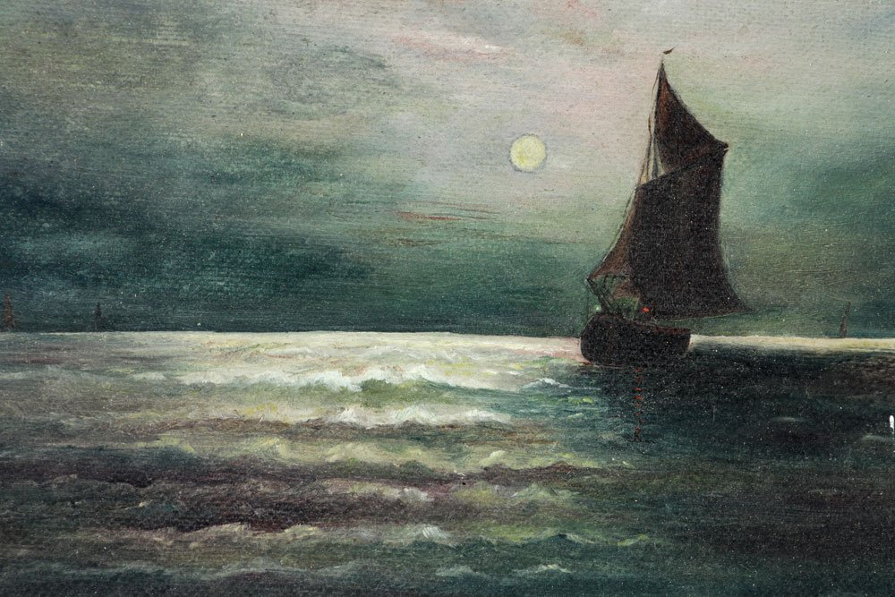 Moonlit Sailboat, Oil on Canvas - 5