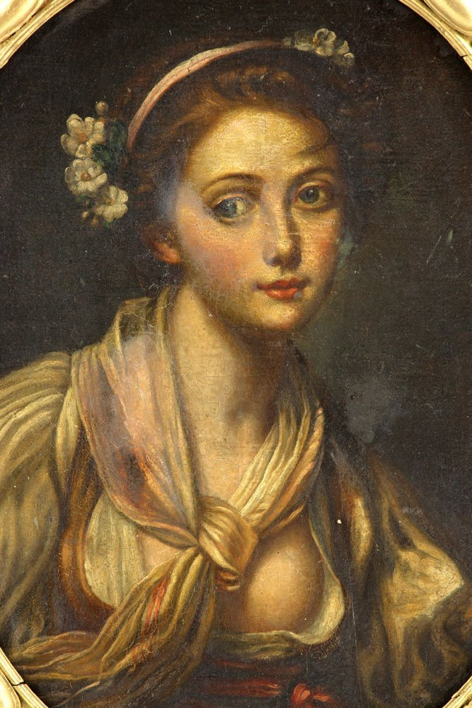 "After Greuze, ""Girl with a Gauze Scarf,"" Oil on Canvas - 2"