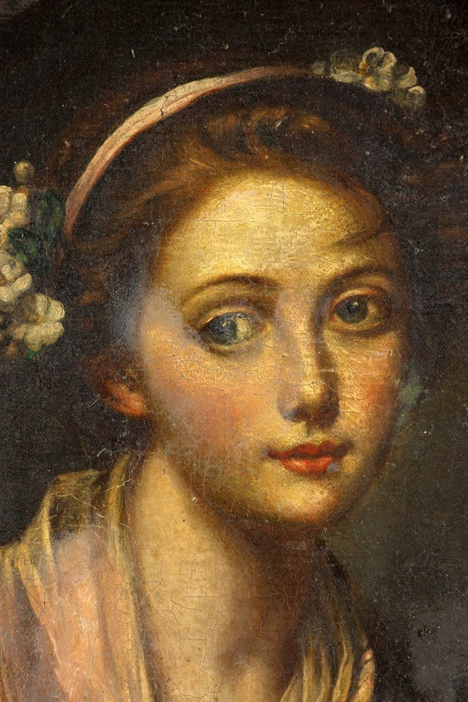 "After Greuze, ""Girl with a Gauze Scarf,"" Oil on Canvas - 3"
