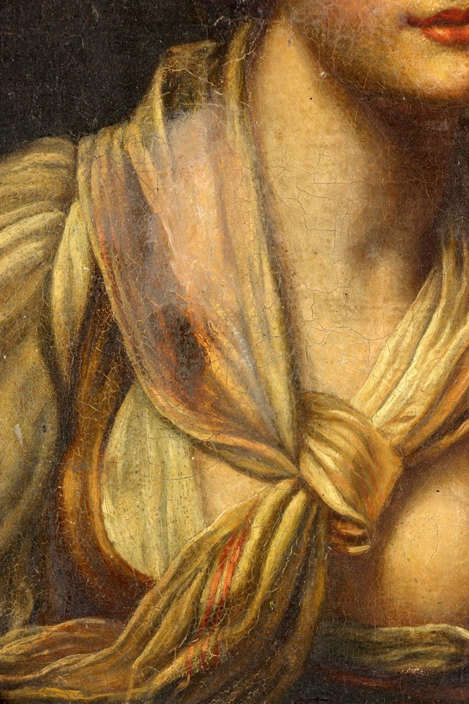 "After Greuze, ""Girl with a Gauze Scarf,"" Oil on Canvas - 4"