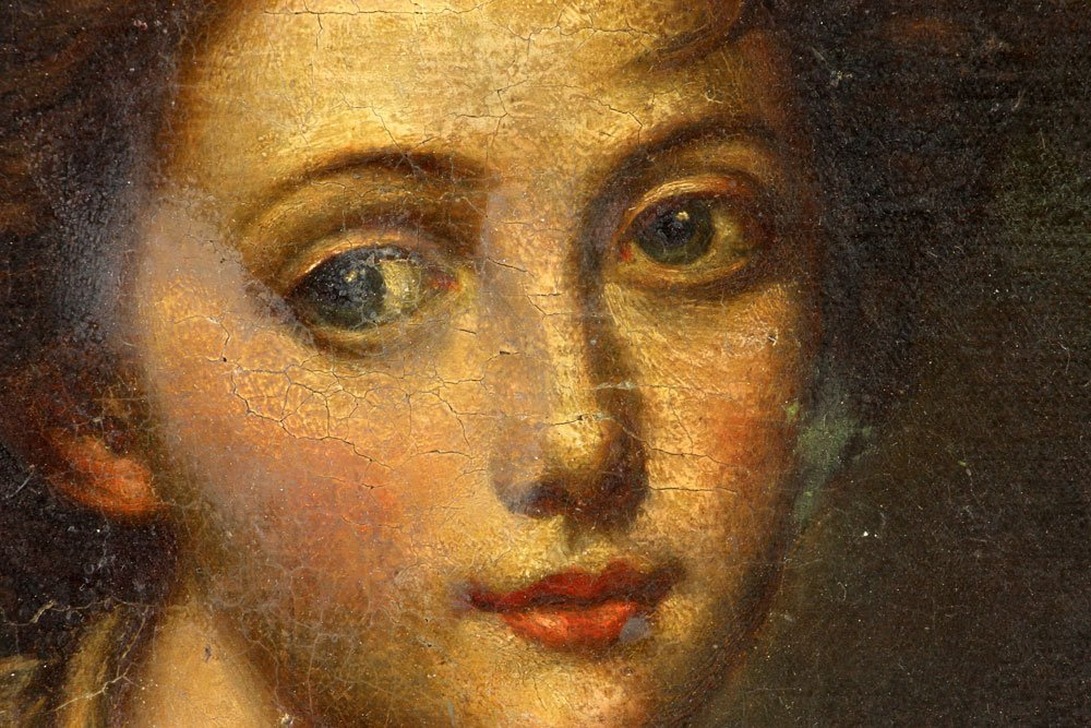 "After Greuze, ""Girl with a Gauze Scarf,"" Oil on Canvas - 5"
