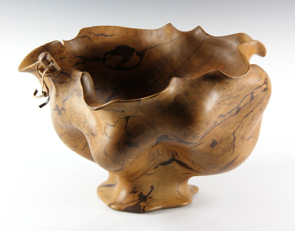 Carved Burlwood Punch Bowl and Ladle - 3