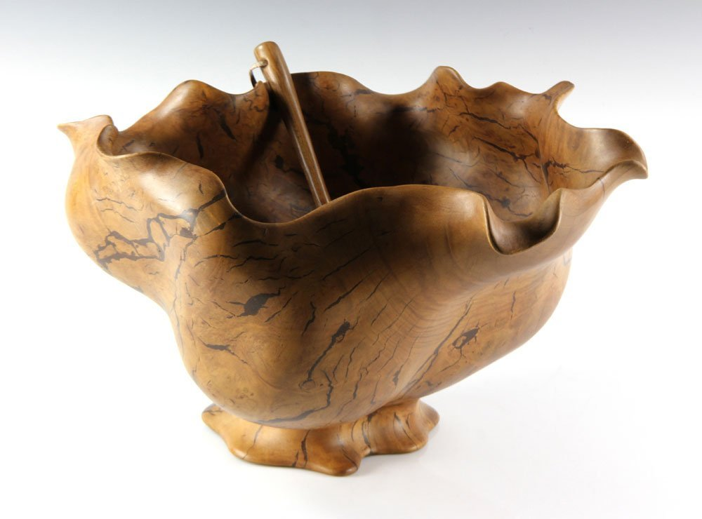 Carved Burlwood Punch Bowl and Ladle - 4
