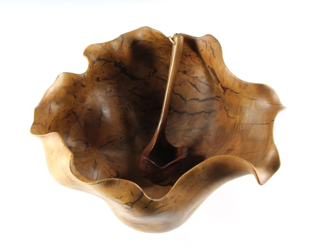 Carved Burlwood Punch Bowl and Ladle - 9