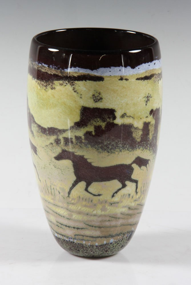 Southwestern Art Glass Vase