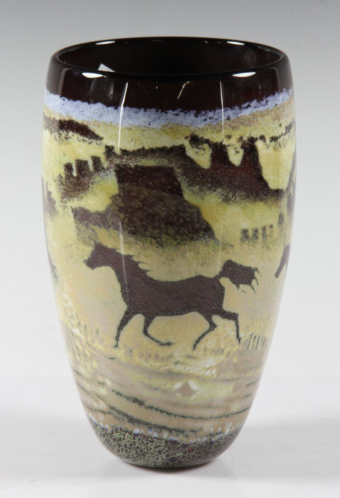 Southwestern Art Glass Vase - 2