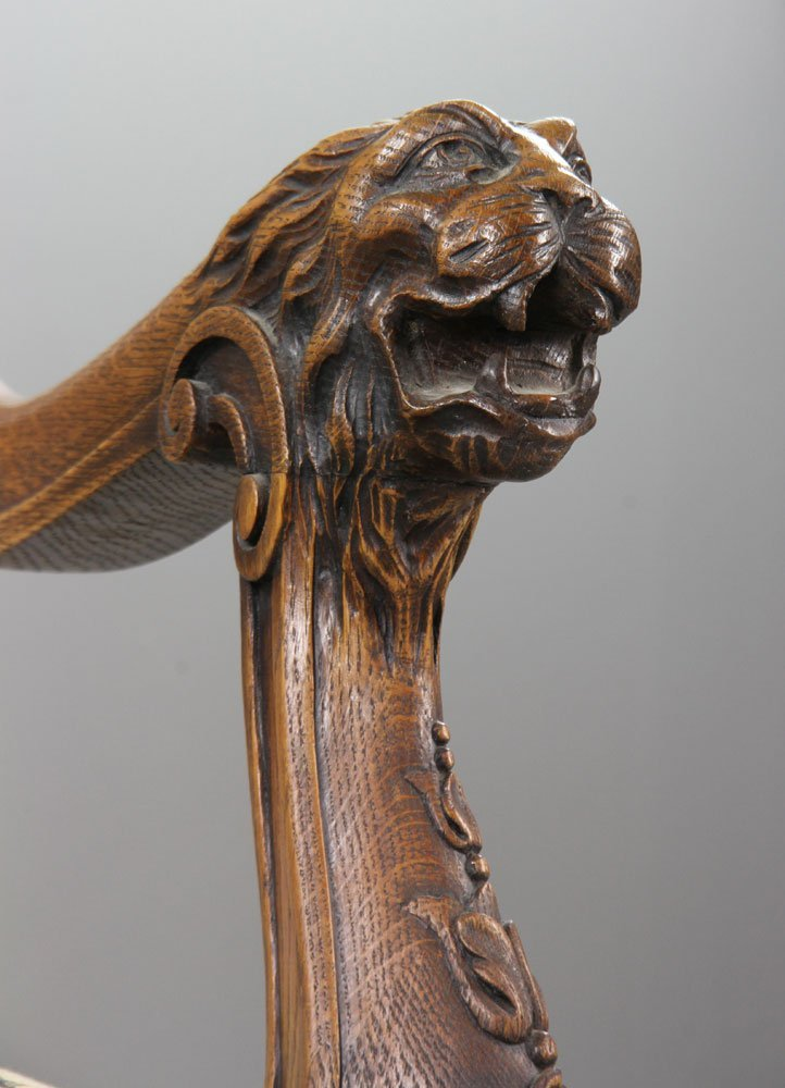 Antique Carved Lionate Armchair - 10