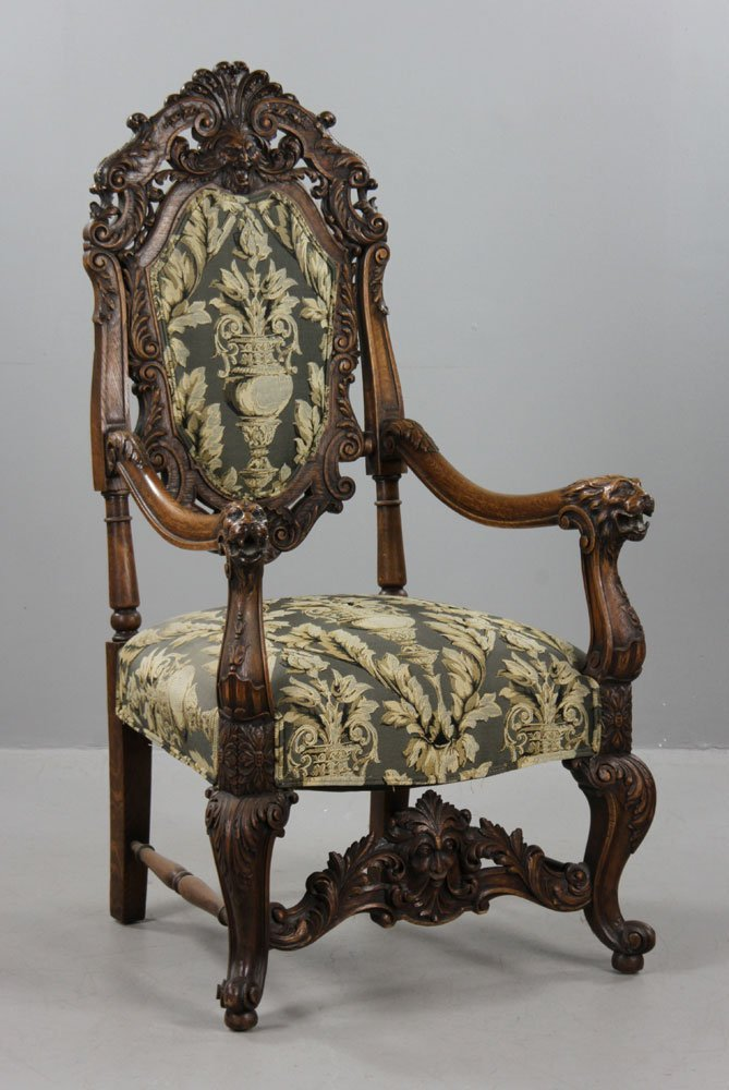 Antique Carved Lionate Armchair - 2