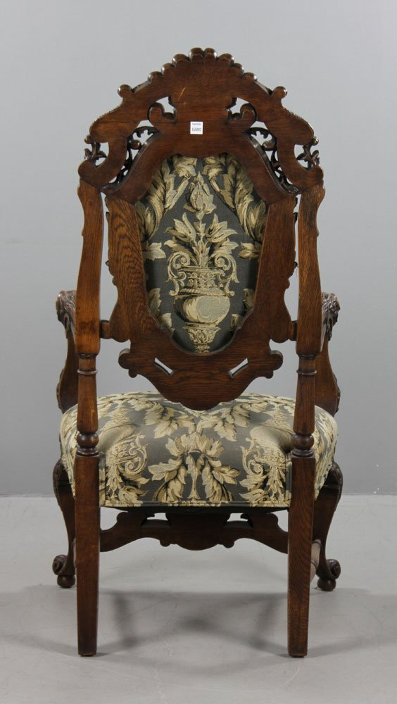 Antique Carved Lionate Armchair - 3