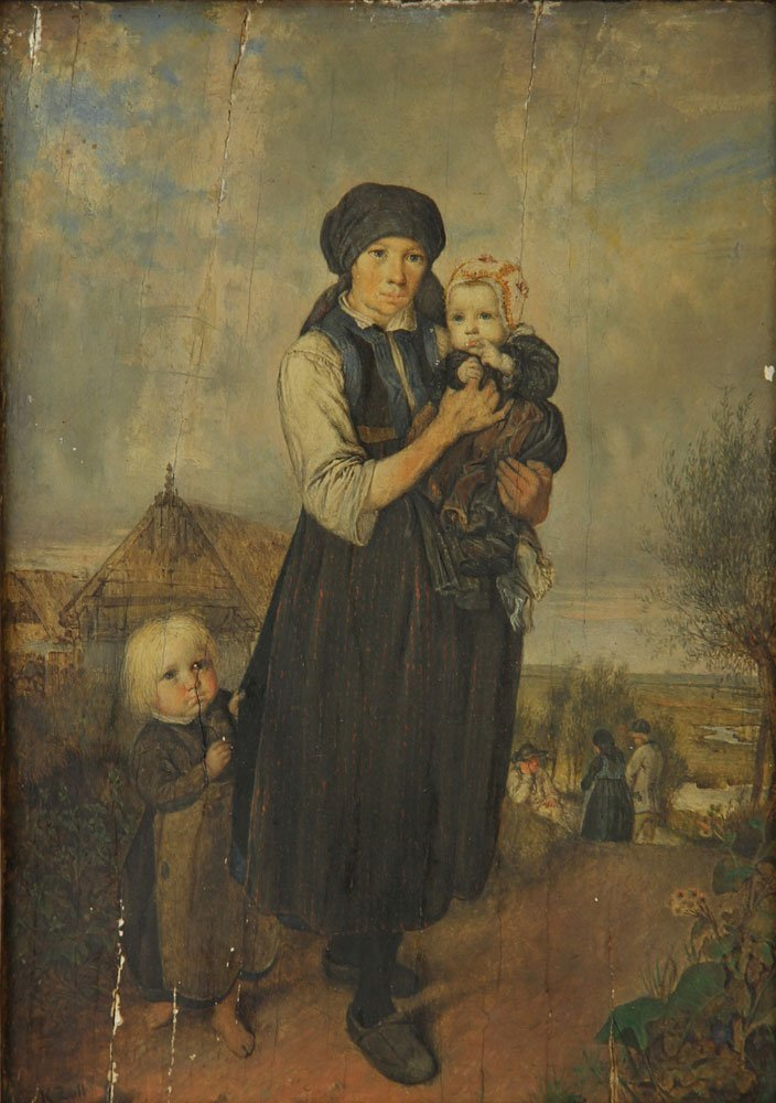 "Zoll, ""Mother with Her Children,"" Oil on Panel - 2"