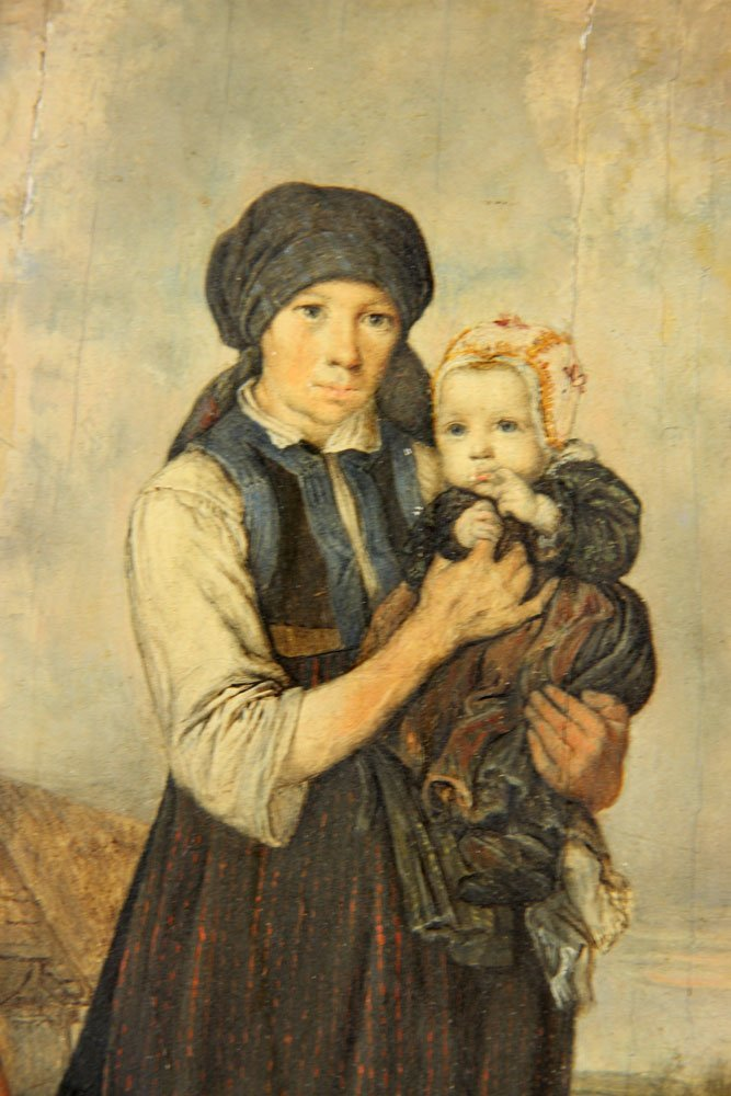 """Zoll, """"Mother with Her Children,"""" Oil on Panel - 6"""