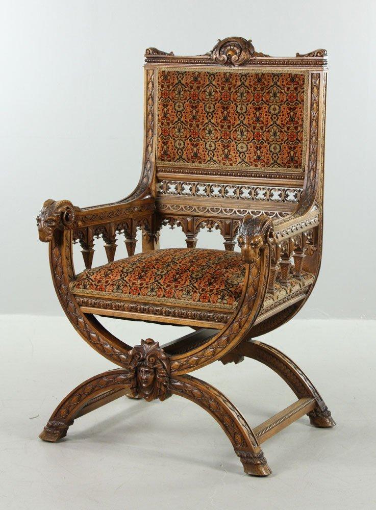 Carved Ram Head Chair