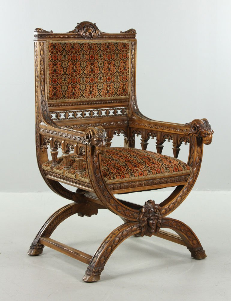 Carved Ram Head Chair - 3