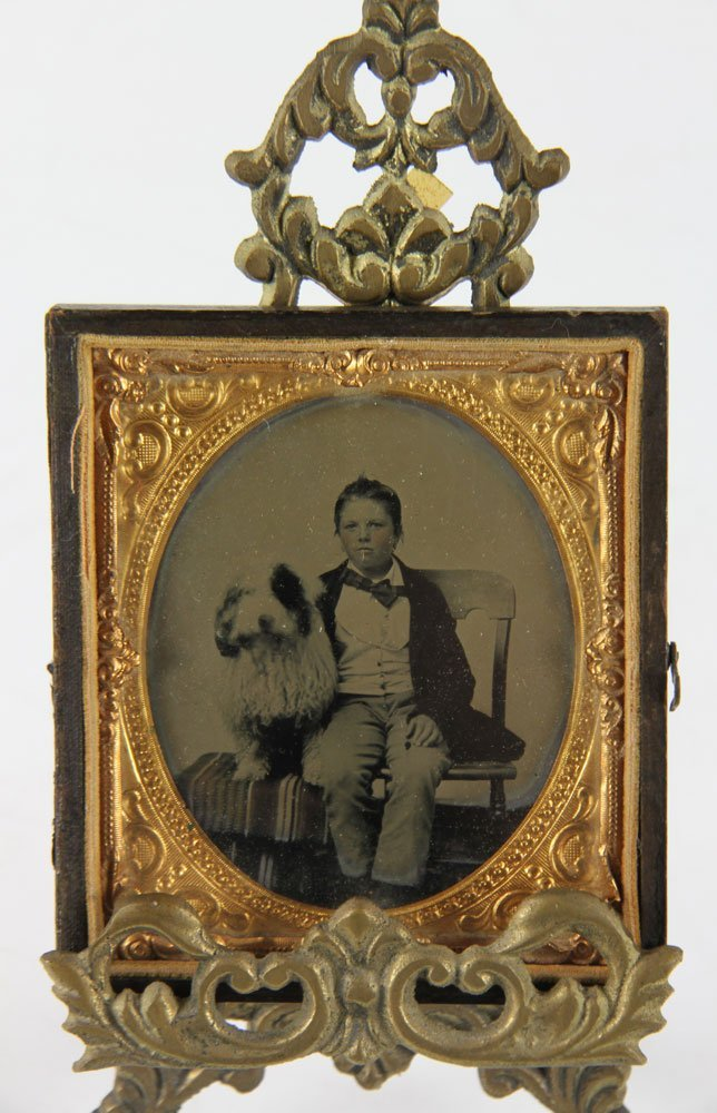 Antique Tintype Of A Boy And Dog - 4