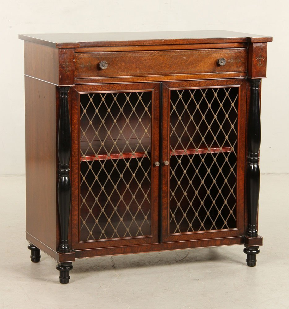 Regency Style Amboyna Burl Cabinet