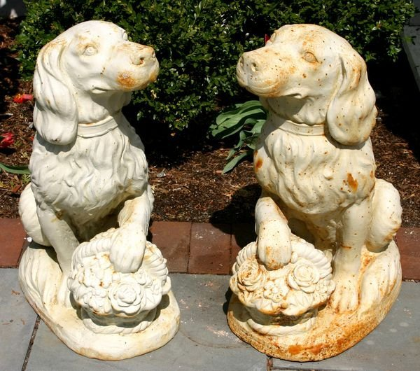 """5002: PAIR OF CAST IRON DOGS, 24""""H"""