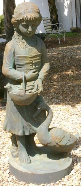 """5017: CAST IRON GIRL WITH GOOSE, 43""""H"""