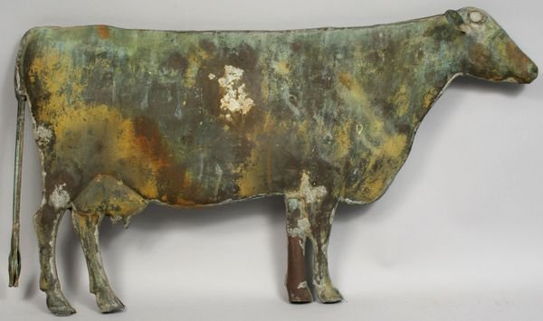 5123: 19th CENTURY COPPER COW WEATHERVANE