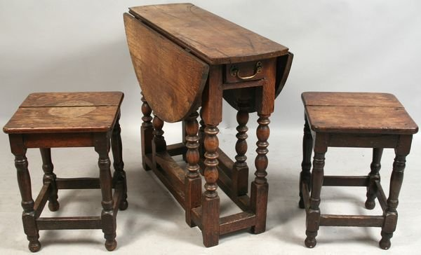 5301: 18th/19th C. DROP-LEAF TABLE w/ (2) SMALL TABLES
