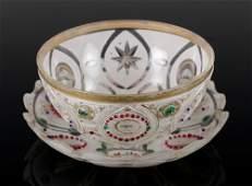 19th C Bohemian Cameo Glass Bowl and Plate Set