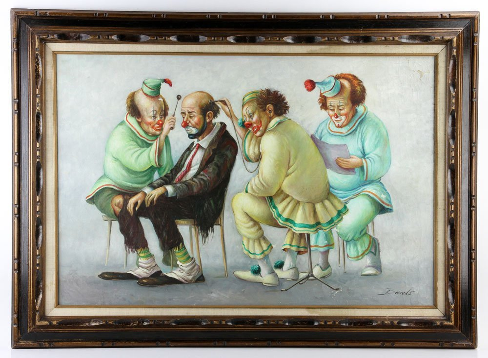 "Barcelo, ""Clown Doctors,"" Oil on Canvas"