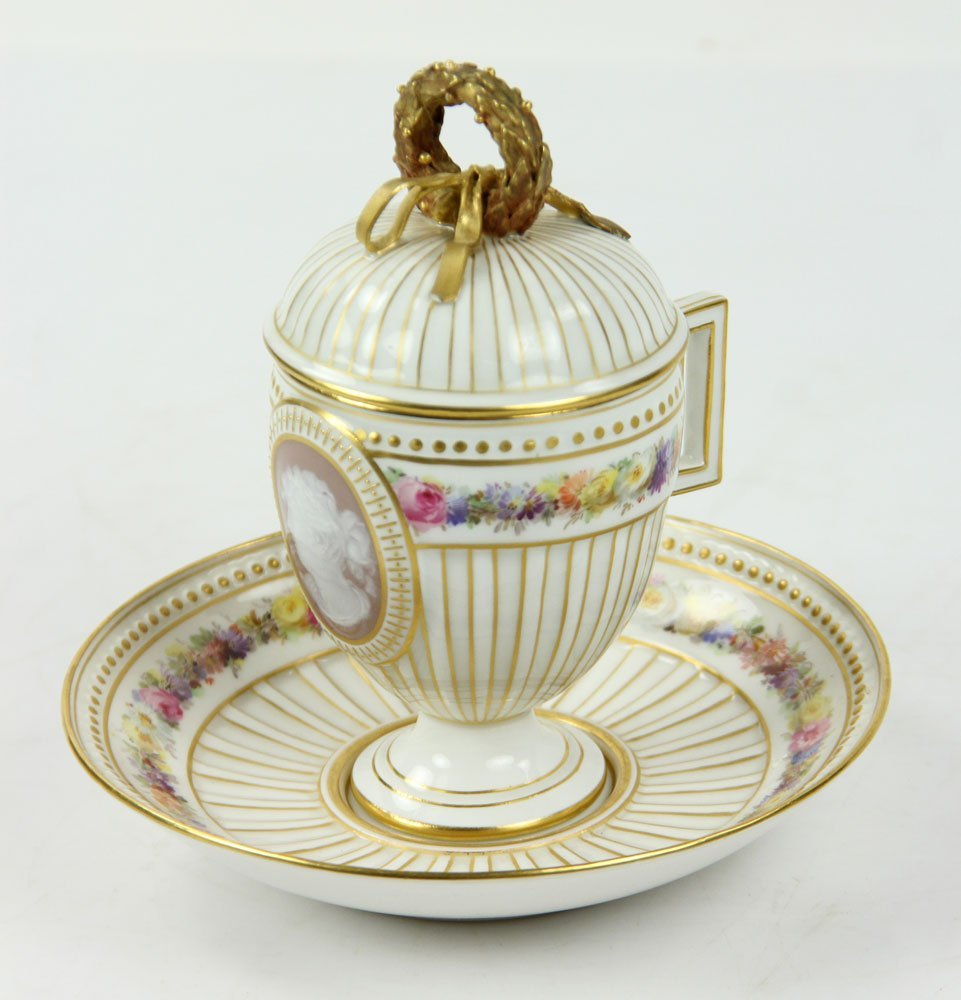 Meissen Pate-sur-pate Covered Cup and Plate
